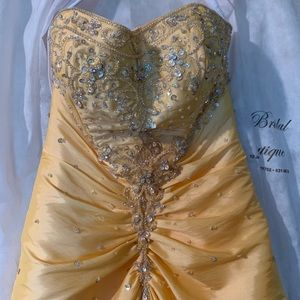 Yellow Lace Corset Back Dress